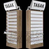 Сигаретный шкаф на десять уровней по высоте с единовременным открыванием створок и лайтбоксом с надписью табак