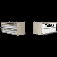Сигаретная торговая полка с двумя уровнями по высоте с единовременным открыванием створок в закрытом и открытом состояние